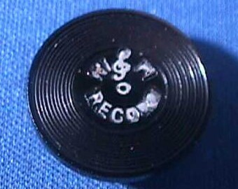 Vintage Celluloid Button, Hi Fi Record, Realistic, Treble Clef, Grooves