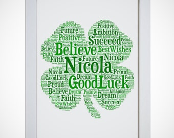 Personalised Irish Shamrock Good Luck Four Leaf Clover Framed Word Art Picture Print Gift