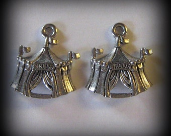 4 Silver Pewter Circus Tents Charms  - (qb3)