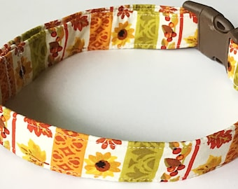 Colorful Fall Dog and Cat Collar with Sunflowers and Leaves