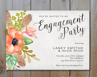 Engagement Party Invitation / Coral Feather and Floral Script Invitation / PRINTABLE INVITATION / #1058