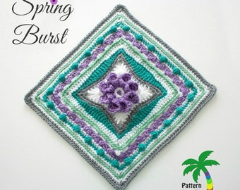 Crochet Pattern Afghan Square Spring Burst  PDF 15-179 INSTANT DOWNLOAD