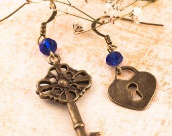 Key Earrings, Vintage Inspired Earrings, Padlock Earrings, Steampunk Earrings, Romantic Gift for Woman, Gift, Engagement, Lover Gift, Bronze
