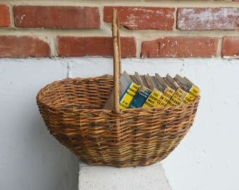 Vintage/Primitive/Country Home Handmade Woven Gathering Basket/Anna E. Greenberg