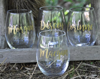 6 Custom Wine Glass, Personalized, Stemless Wine Glass, Bridesmaid Gifts, Bachelorette Party, Birthday Wine Glasses, Custom Wine Glasses