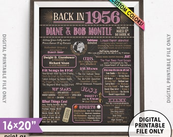 """62nd Anniversary Poster, Flashback to 1956 Anniversary Party Decor, Married in 1956, Custom Chalkboard Style PRINTABLE 8x10/16x20"""" 1956 Sign"""