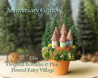 Miniature Woodland Potted Fairy Village  - Anniversary Edition -  Landscaped Terra-cotta Pot with Five Round Fairy Houses, Pine Trees
