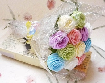 Origami French Pastel Rose Bouquet (1 Dozen Gift Wrapped) Anniversay Gift, Valentines day gift, Party favors