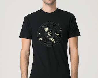 Solar System Shirt, Planets T Shirt, Space Shirt, Graphic Tees for Men, Mens Tshirt, Gift For Men, Clothing, T Shirt, T Shirts For Men