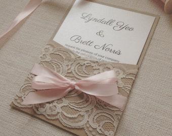 Wedding Invitation Blush & Kraft pocket wedding invitation - SAMPLE - Rustic vintage blush lace pocket wedding invitation