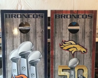 Broncos corn hole game, been bag toss game