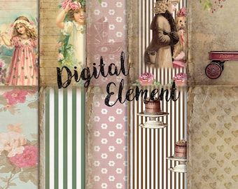 Digital Paper, Vintage Scrapbook Digital Paper, Floral Vintage Shabby Paper, Digital Printable Paper. No. P143
