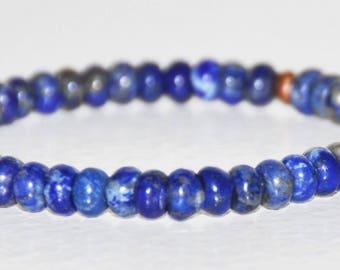 Lapis Lazuli Stretch Bracelet, Healing Copper, Blue Gemstone, Stacking Bracelet, Protection, Meditation, Insight, Prosperity, Empowerment