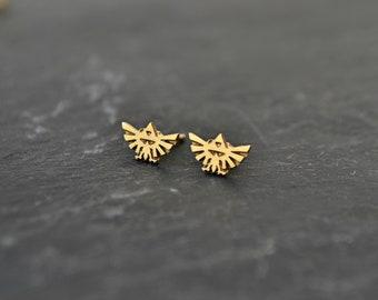 Legend of Zelda 14K Solid Gold Earrings, Triforce Zelda Stud Earrings Gold Jewelry, Geeky Nerdy Zelda Gamer Earrings