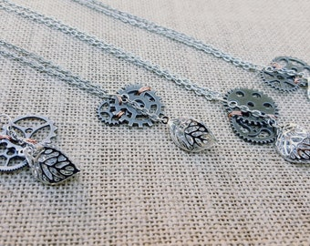 Steampunk Gear and Leaf chain necklace