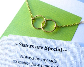 SISTER NECKLACE - Sisters Jewelry - POEM Included - Gold Filled Inseparable Rings 14kgf Chain Circles Sister Gift Wrapped