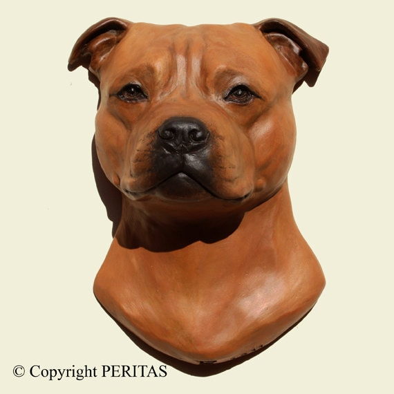 Artículos similares a Hand painted red Staffordshire Bull Terrier ...