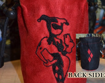 Dice Bag  Harley Quinn and diamonds embroidered Suede