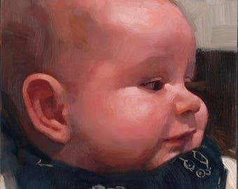 5 x 7 in single portrait - oil on gessobord