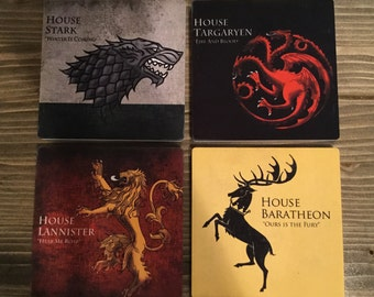 Game of Thrones Coasters Ceramic with Cork Back Stark Targaryen Barathon Lannister Tyrell Martell Greyjoy Bolton Tully Arryn Housewarming