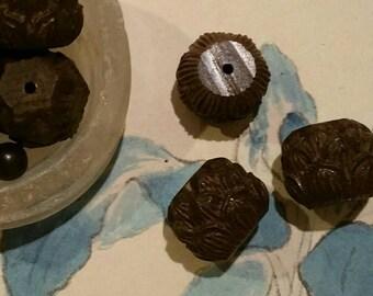 Wood Lotus flower beads Zen beads buddha head beads