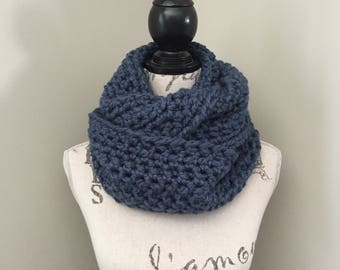 Crochet infinity scarf, Chunky crochet scarf,Infinity crochet scarf, Crochet scarf, Infinity scarf in denim blue
