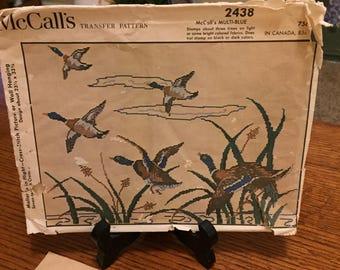 Vintage 1960 McCalls Transfer Cross Stitch Pattern  Beautiful Ducks in Flight Scene #2438
