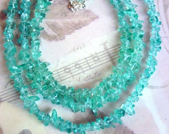 Multistrand Aqua Tinted Crystal Necklace (151)
