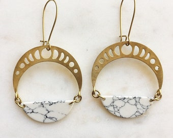 Moon Phase Brass Earrings with White Howlite Marble Half Circle