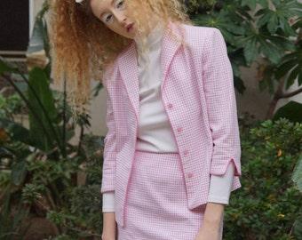 Vintage Nineties Pink Gingham Skirt Suit