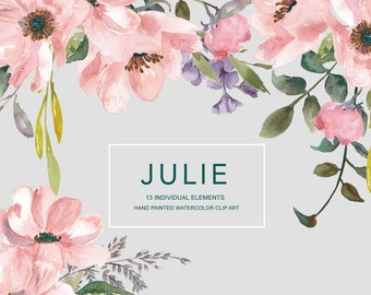 Blush Wild Roses Watercolor Clipart Separate Elements Hand Painted Pink Blush Flowers Wedding Diy Clip Art PNG Commercial Use| E105 Julie