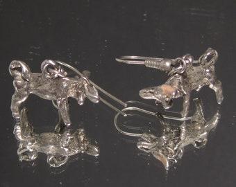 Vintage Sterling Silver Bull or Oxen Farmers Earrings