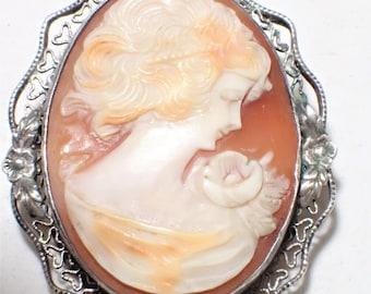 Hand Carved Shell Cameo In Filigree Flower Design Sterling Silver Frame