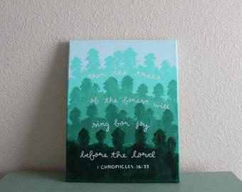 11x14 bible verse painted canvas 1 Chronicles 16:33