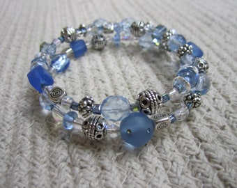 Beautiful Pale Blue and White Memory Wire Wrap Bracelet with Silver Beads and Spacers