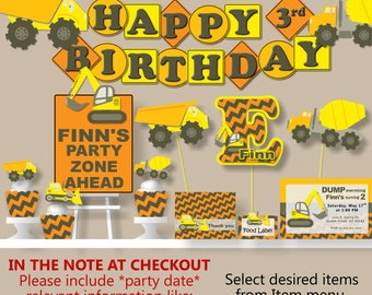 Dump Truck Birthday Party Decorations - Package, Invitations, Banner, Cake Topper, Cupcake, Favor Tags