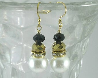 Elizabethan Pearl and Crystal Dangles - Renaissance Earrings