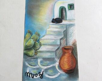vintage 80's original pastel painting, Cyclades Aegean sea Greece signed Moz