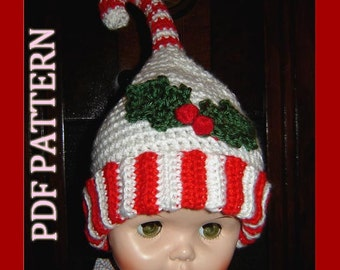 Christmas Candy Cane Hat - INSTANT DOWNLAOD Crochet Pattern