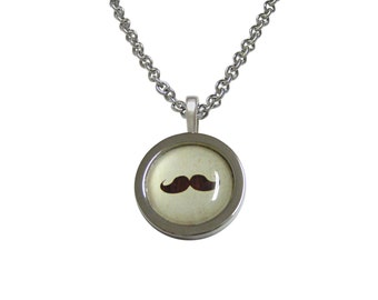 Bordered Brown Hipster Mustache Pendant Necklace