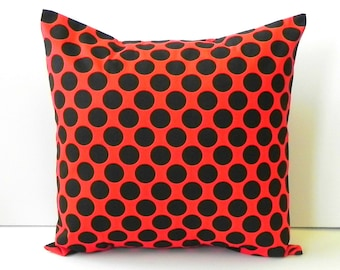 Pillow Covers. 18x18 Black and red polka dots cotton fabric
