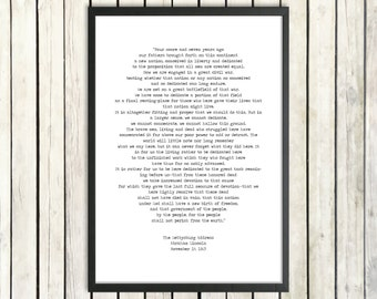 Abraham Lincoln Inspirational Speech Printable Quote 'The Gettysburg Address' Instant Download American History President Quote Poster Print