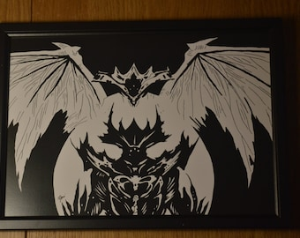 Oryx and Crota from Destiny Black and White Print