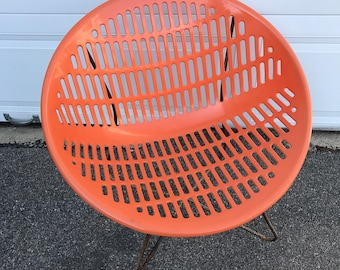 Solair Chair Saucer Chair Motel Chair Mid Century Modern Vintage Orange Molded Plastic