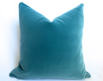 Belgium Cotton Velvet Pillow Cover - Turquoise - 20 inch - Turquoise Velvet - Dark Teal Pillow - Turquoise Decorative Pillow - Velvet Pillow