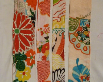 Assorted Antique / Vintage Japanese Kimono Fabric 100g - long strip07