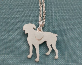 Boxer Dog Necklace, Sterling Silver Personalize Pendant, Breed Silhouette Charm, Rescue Shelter Memorial Jewelry