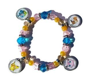 Pokemon Pikachu Bulbasaur Eevee Jigglypuff character charm stretch beaded bracelet