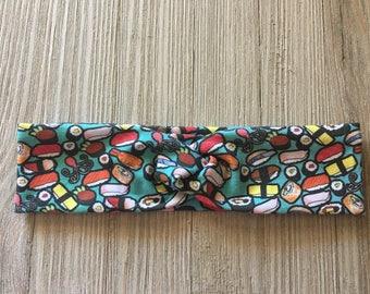 Sushi Twisted Turban Headband // sushi rolls // California roll // salmon // shrimp // nigiri sushi // sashimi // Mint Aqua Ombre