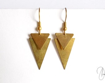 Antique Gold Triangle Earrings - Geometric Edgy Dangle Earrings - Geo Jewelry - Spear Arrow Tribal Earrings - Aztec Style Earrings Gift